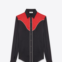 Slim Western Shirt in Black and Red Silk