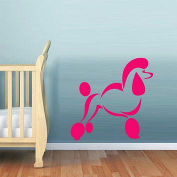 rvz798 Wall Vinyl Sticker Bedroom Kids Decal Cute Dog Poodle