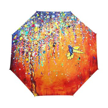Creative Colorful Hummingbird Umbrella Anti-uv Sun Protection Umbrella Bird 3 Folding Gift Sunny Rainy Umbrellas