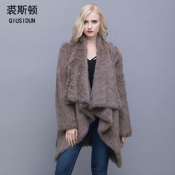 QIUSIDUN 2017 Women Genuine Knitted Rabbit Fur Coat Winter Real Rabbit   New Fashion Fur Outwear Lady Natural Rabbit Fur Jacket