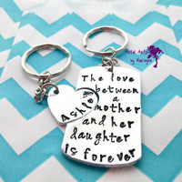 SALE Mothers Love Key chain set Hand Stamped Keychain Set Name Key Chain Daughters Name Hand Stamped Keychains Gifts for Mom Mothers Day Gif