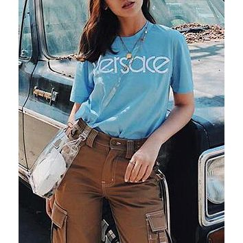 VERSACE Summer Stylish Women Men Leisure Letter Embroidery Short Sleeve Cotton T-Shirt Top Blue