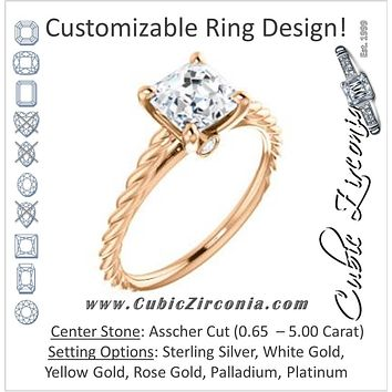 Cubic Zirconia Engagement Ring- The Lolita (Customizable Asscher Cut Style with Braided Metal Band and Round Bezel Peekaboo Accents)