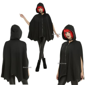 Licensed cool Black Hooded Bat Wings Hood Cape Pockets Faux Leather Cosplay Costume S/M L/XL