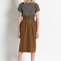Vintage 80s Caramel Brown High Waisted Wool Midi Skirt | 0