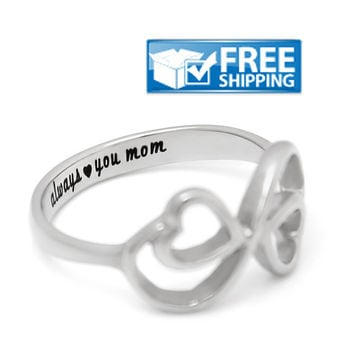 "Mother Gift - Double Hearts Promise Mother Ring Engraved on Inside with ""Always Love you Mom"", Sizes 6 to 9"