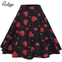 Ruiyige Women Midi Skirt 2017 Retro Vintage Rockabilly Skirts Women Sexy Pinup 50S 60S Floral Skirts Summer Work Sexy Vestidos