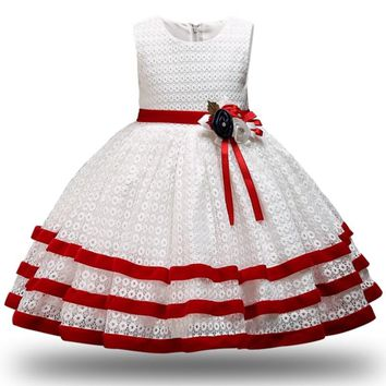 Children Princess Party Kids Dresses for Girls Cake Tutu Lace Flower Girls 1-8 YRS Baby Girls Clothes Kids Wedding Party Dress