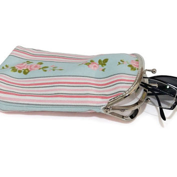 Glasses case Double pockets - Sunglasses / Reading case - Pink and Blue Cotton Canvas fabric - Silver Frame