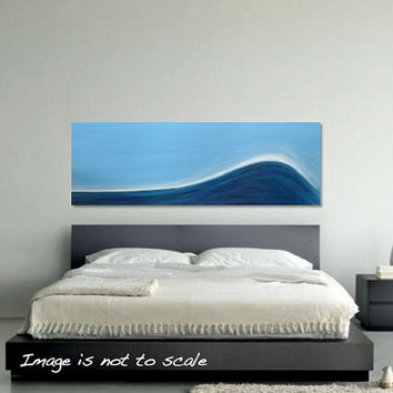 THE WAVE II: Huge Original Abstract Acrylic Seascape Art Canvas Acrylic Painting - Minimalist Blue and White - Large 48 x 16 - Free Shipping