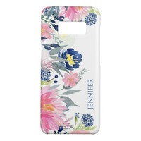 Navy Blue and Pink Watercolor Flowers Case-Mate Samsung Galaxy S8 Case