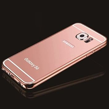 Samsung Galaxy S6 Edge Rose Gold Mirror Case, Umiko(TM) Luxury Anti-scratch Ultra thin Mirror Metal Aluminum Frame Case for Galaxy S6 Edge- Rose Gold