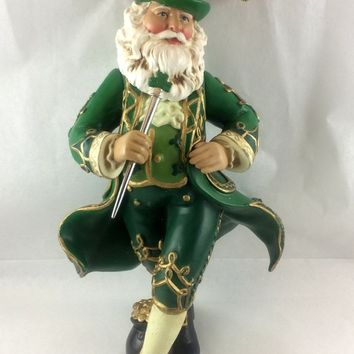 Festive Irish Santa Ornament - Luck of the Irish - Ceramic - Vintage 1980 - Gold String Hanger - Holiday Decor - Christmas Decoration
