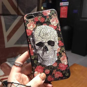 Skull Glitter Bling Flower Case For iPhone 7 6S 6 Plus X 10 Pretty Cover Coque For iPhone 8 Plus Case For iPhone X 7 Plus Case