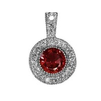 Ruby Pendant Necklace 14K Yellow or White gold Round Halo Pendant Top quality Ruby and Diamonds
