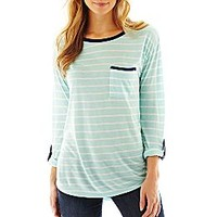 a.n.a® 3/4-Sleeve Striped Print Top