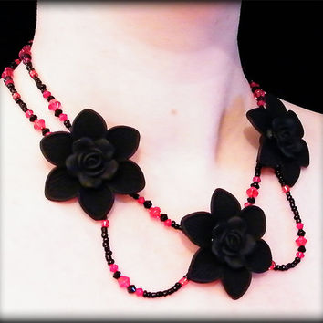 Gothika Rose statement necklace .. black flowers, black and red beads, toggle clasp. Drama ++