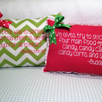 Red Christmas pillow embroidered with Buddy the elf quote