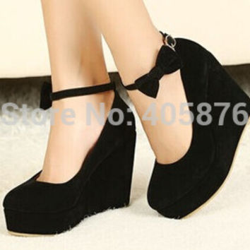 Low Price 2014 New Sexy Women Fashion Buckle ladies Shoes Vogue Wedges RED APRICOT BLACK High Heels Platform Pumps