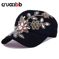 CRUOXIBB New Women's Baseball Cap Full Crystal Flower Denim Bling Rhinestone Women Snapback Cap Gorras Adjustable Unisex Caps