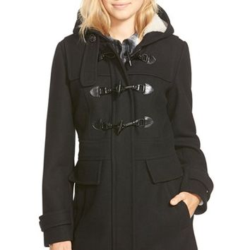 London Fog Wool Blend Duffle Coat with Faux Shearling Lined Hood | Nordstrom