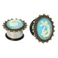 Steel Mermaid Cameo Saddle Plug 2 Pack