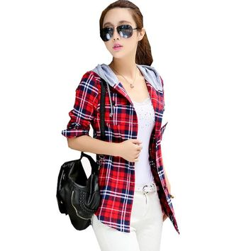 New Arrival 2016 Autumn Cotton Long Sleeve Red Checked Plaid Shirt Women Hoodie Casual Fit Blouse Plus Size Sweatshirt ZY078