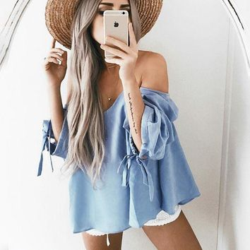 PEAPUF3 Sexy off shoulder strapless loose blue top