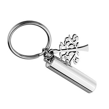 HooAMI Silver Tone Tree of Life & Cylinder Cremation Urn Keychain Keepsake Memorial Ashes Jewelry