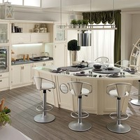 Lacquered wooden kitchen with island BOLINA by Caroti