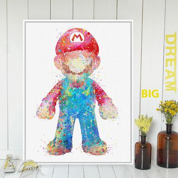 Original Watercolor Super Mario Japanese Game Poster Print A4 Abstract Picture Kids Room Wall Art Decor Canvas Painting No Frame