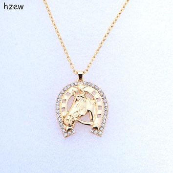 hzew fashion Crystal Horseshoe Necklace Horse Brand Necklaces Women's Fashion Jewelry gift pendant Necklace