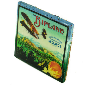BiPlane - Vintage Citrus Crate Label - Handmade Recycled Tile Coaster