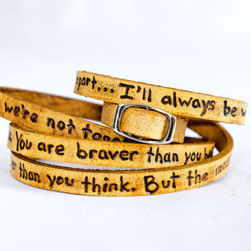 To My Lovelies, Winnie the Pooh Quote on Ultra Long Leather Wrap Bracelet