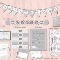 Gray & Pink Elephant Baby Shower Decorations: Banner, DIY Printable Package, Instant Download, Baby Girl by the Lil Shop that Could