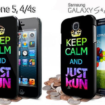 keep calm and just run nike logo iphone 4 /4S / 5 case samsung galaxy S3 / S4 case