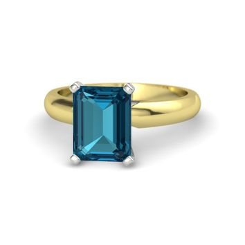 Emerald-Cut London Blue Topaz 18K Yellow Gold Ring