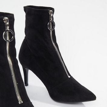 New Look Zip Front Kitten Heel Boot at asos.com