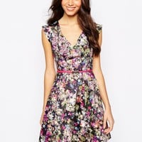 Oasis Plunge Neck Floral Skater Dress With Belt at asos.com