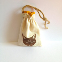 BROWN CAT BAG ruffled muslin small  jute drawstring pouch, natural color drawstring bag, gift for cat lovers, tabby cat, satchel