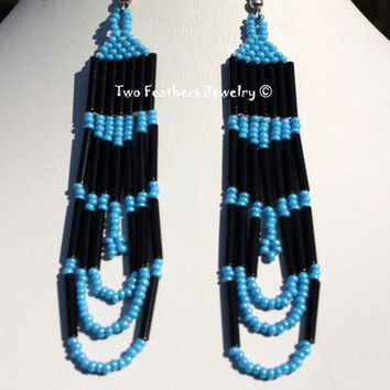 Tribal Style Shoulder Dusters - Hand Beaded Earrings - Black And Blue - Native Inspired - Gift For Her - Boho Earrings - Indie - Hippie