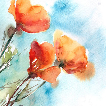 Poppies Watercolor Print, Orange Poppies Watercolor Painting Art Print, Floral Wall Art, Home Decor