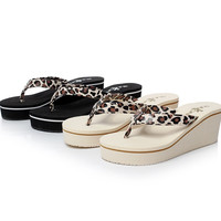 New Stylish Womens Flip Flops Thong Slides wedge heel sandals Shoes Leopard