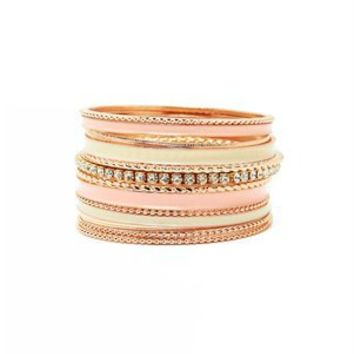 A'GACI Pop Enamel + Rhinestone Stacked Bangle - New Arrivals