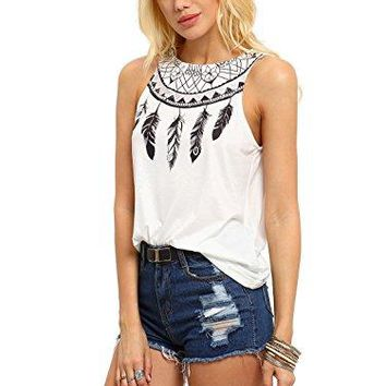 ROMWE Women's Summer Tribal Feather Print Boho Round Neck Tank Camis Top Vest White Large