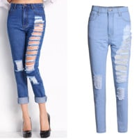 FASHION BLUE HOLE PANTS JEANS