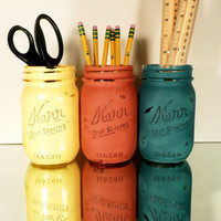 Back to School - Home, Dorm or Office Decor, Teacher Gift - Mason Jars - Primary Colors - Pencil Holder