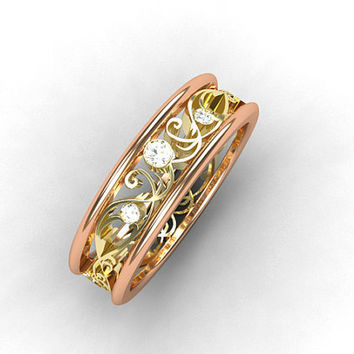 Diamond ring, Rose Gold, Yellow gold, Filigree wedding, Lace, Wedding band, Rose Gold wedding,  Two tone, Wedding ring, Unique