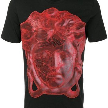 NOVO5 VERSACE COLLECTION BLACK WITH RED PRINT T SHIRT SIZE S