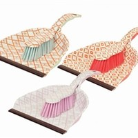 Geo-Checkered Dustpan With Brush